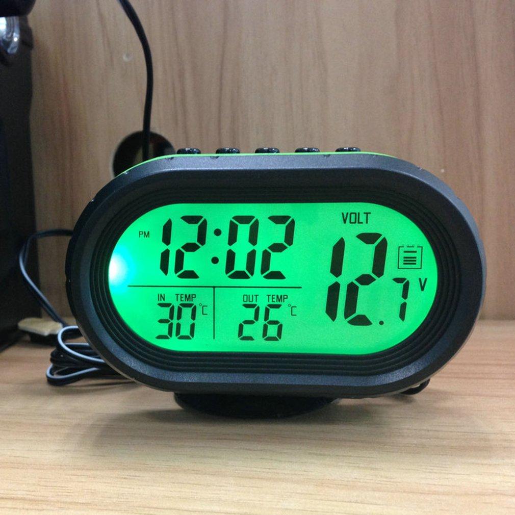 Car LCD Digital Clock Thermometer Backlight Voltage Meter Monitor Alarm