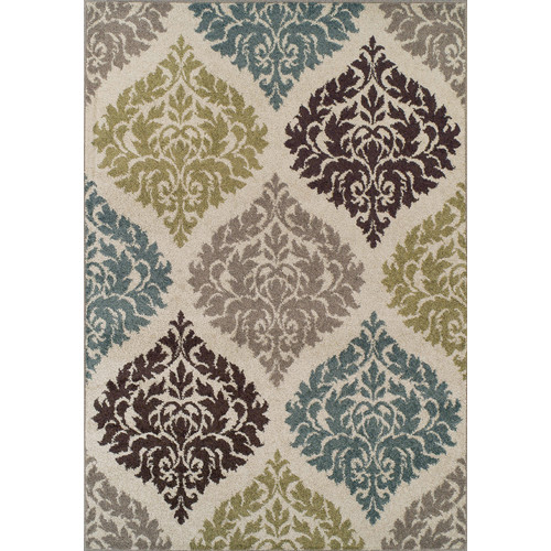 Dalyn Marcello Area Rugs - MO611 Transitional Casual Ivory Frieze Leaves Medallions Rug