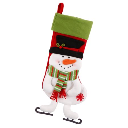 Lovely Christmas Snowman Stocking Gift Candy Bag Holiday Festive Hanging Decorations - Candy Christmas Stocking