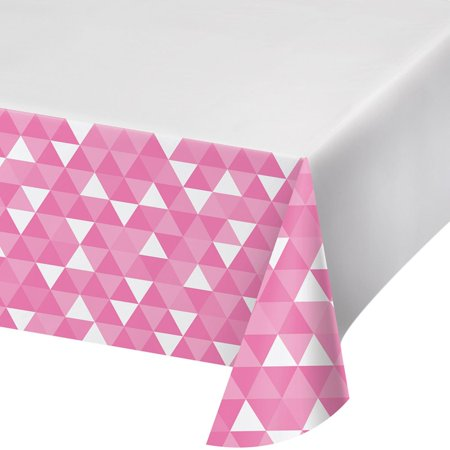 Candy Tables (Club Pack of 12 Candy Pink and White Fractal Plastic Table Cover)