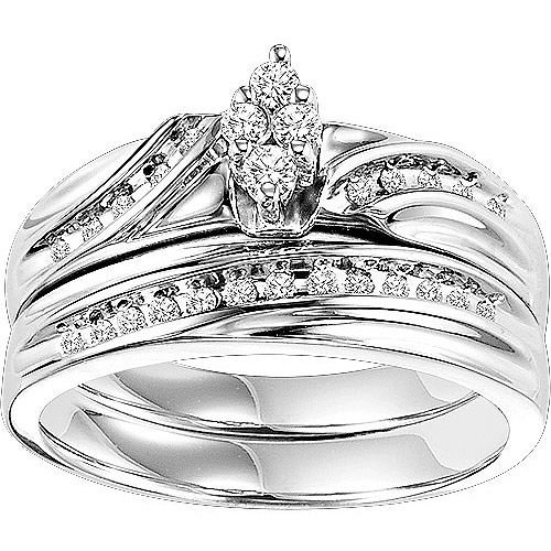 Charmant Forever Bride 1/4 Carat T.W. Diamond Sterling Silver Bridal Set