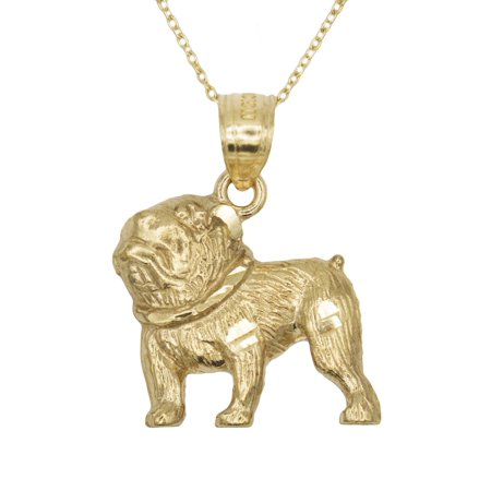 "10k Yellow Gold Dog Pet Pendant Necklacet with 20"" Chain"