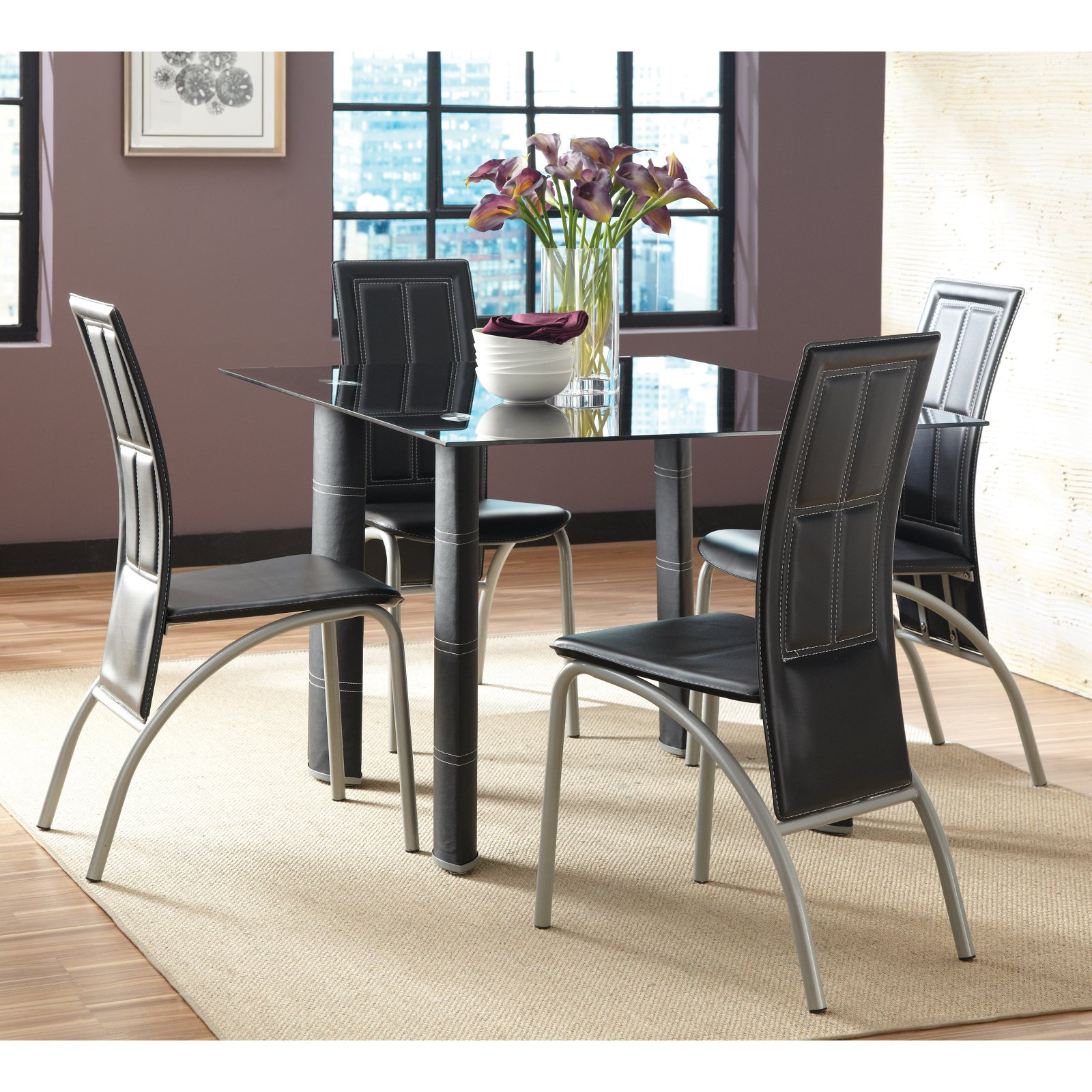 Steve Silver Calvin 5 Piece Glass Dining Table Set Black Walmartcom