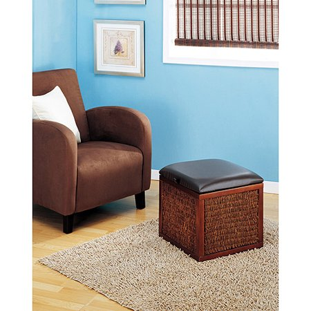 Dark Cocoa Storage Ottoman, Brown