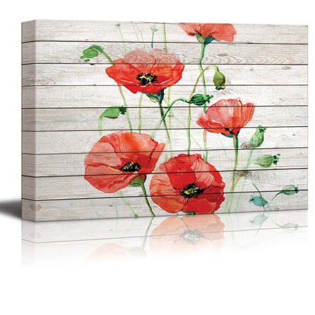 wall26 - Watercolor Red Poppy Flowers Over Wood Panels - Canvas Art Home Decor - 24x36 (Red Flanders Poppies)