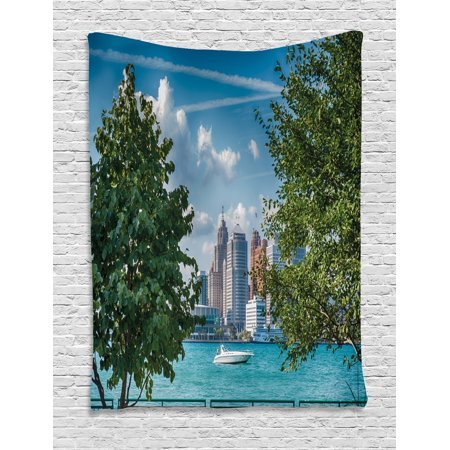 Sunday Afternoon Tapestry (Detroit Tapestry, Detroit Sightseeing on a Summer Afternoon Modern Architecture River and Boat, Wall Hanging for Bedroom Living Room Dorm Decor, Green Blue Aqua, by Ambesonne)