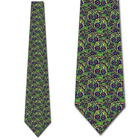 Halloween Ties Mens Sugar Skull Necktie Lime Green by Three - Lime Green Halloween Lights