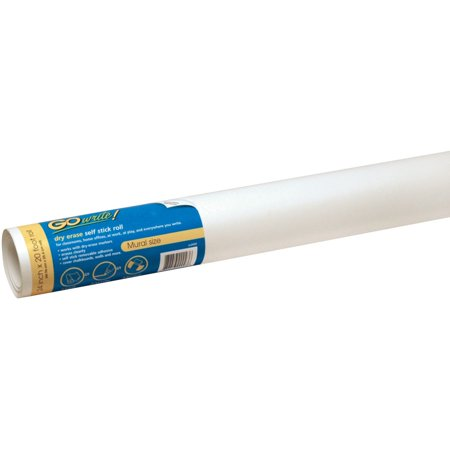 "GoWrite! Self-Adhesive Dry Erase Roll, White, 24"" x 20"