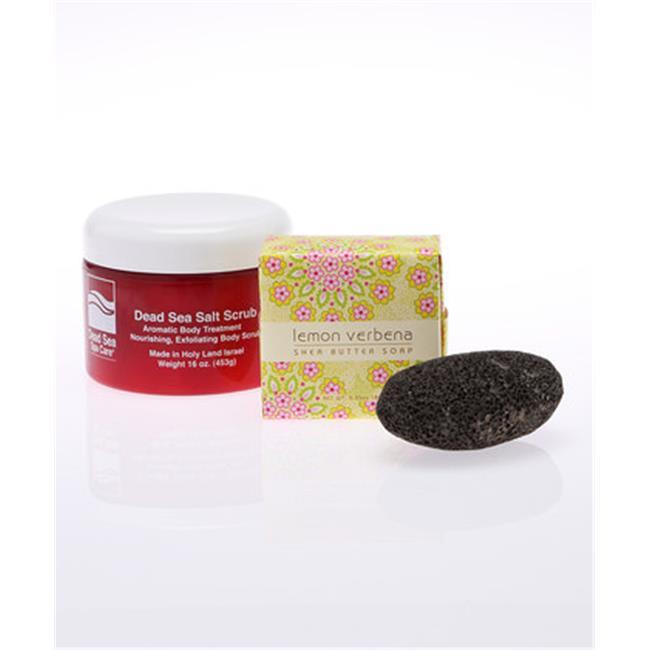 Dead Sea Spa Care DeadSea-210 16 oz Dry Dead Sea Salt Scrub, 6.35 oz Lemmon Verbena Shea Butter Soap, Pumice Stone