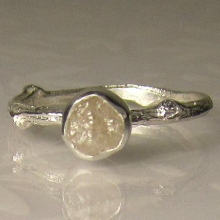 Tree Branch Engagement Ring (Tree Branch 1 Carat Natural Rough White Diamond Bezel Engagement Ring in White)
