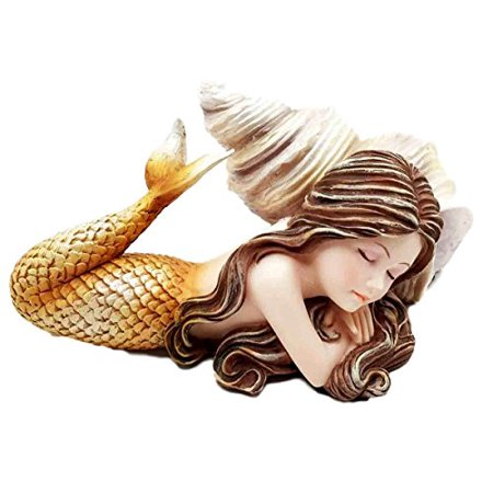 Ebros Under The Sea Young Mermaid Ariel Resting by Snail Sconce Shell Figurine Decor for Mermaids Fantasy Ocean Life (Orange Mergirl) (Mermaid Figurines)