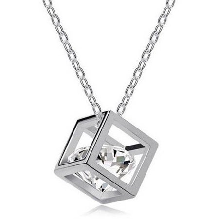 Designer Inspired Silver-Tone 3D Cube Necklace, 18