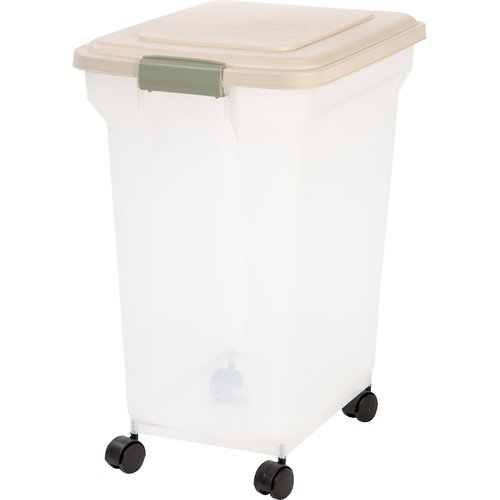 IRIS 55 Quart Airtight Pet Food Container, Almond