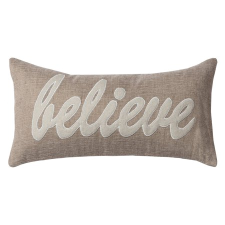 """Believe"" Natural Decorative Throw Pillow With Felt Applique, 11"" x 21"""