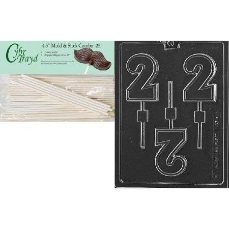 Cybrtrayd 45St25-L047 No.2 Lolly Letters and Numbers Chocolate Candy Mold with 25-Pack 4.5-Inch Lollipop (33 Chocolate Mold)