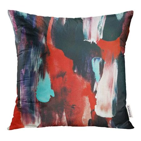 BOSDECO Colorful Abstract Modern Abstraction Red Black Blue and White Smears Pillow Case Pillow Cover 18x18 inch - image 1 de 1