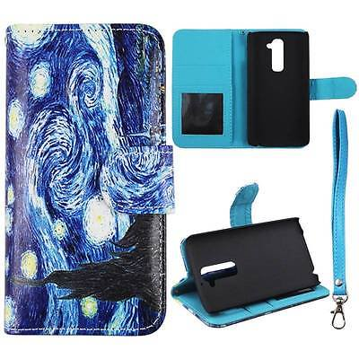 For LG G2 D802 Wallet Starry Night Syn Leather Folio Dual Layer Interior Design Flip PU Leather case Cover Card Cash Slots & Stand  Cover (Best Cell Phone Case For Lg G2)