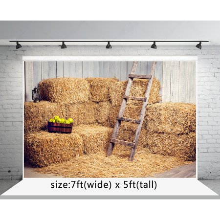 GreenDecor Polyster 7x5ft Yellow Haystack Photo Backgrounds Fall Warehouse for Halloween Photography Backdrops - Halloween Screen Backgrounds