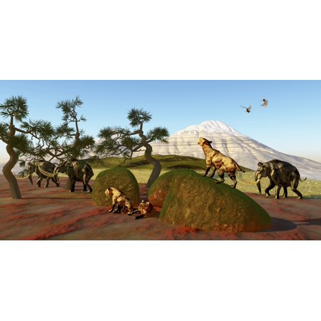 A family of Saber Toothed Tigers watch a herd of Woolly Mammoths Canvas Art - Corey FordStocktrek Images (40 x