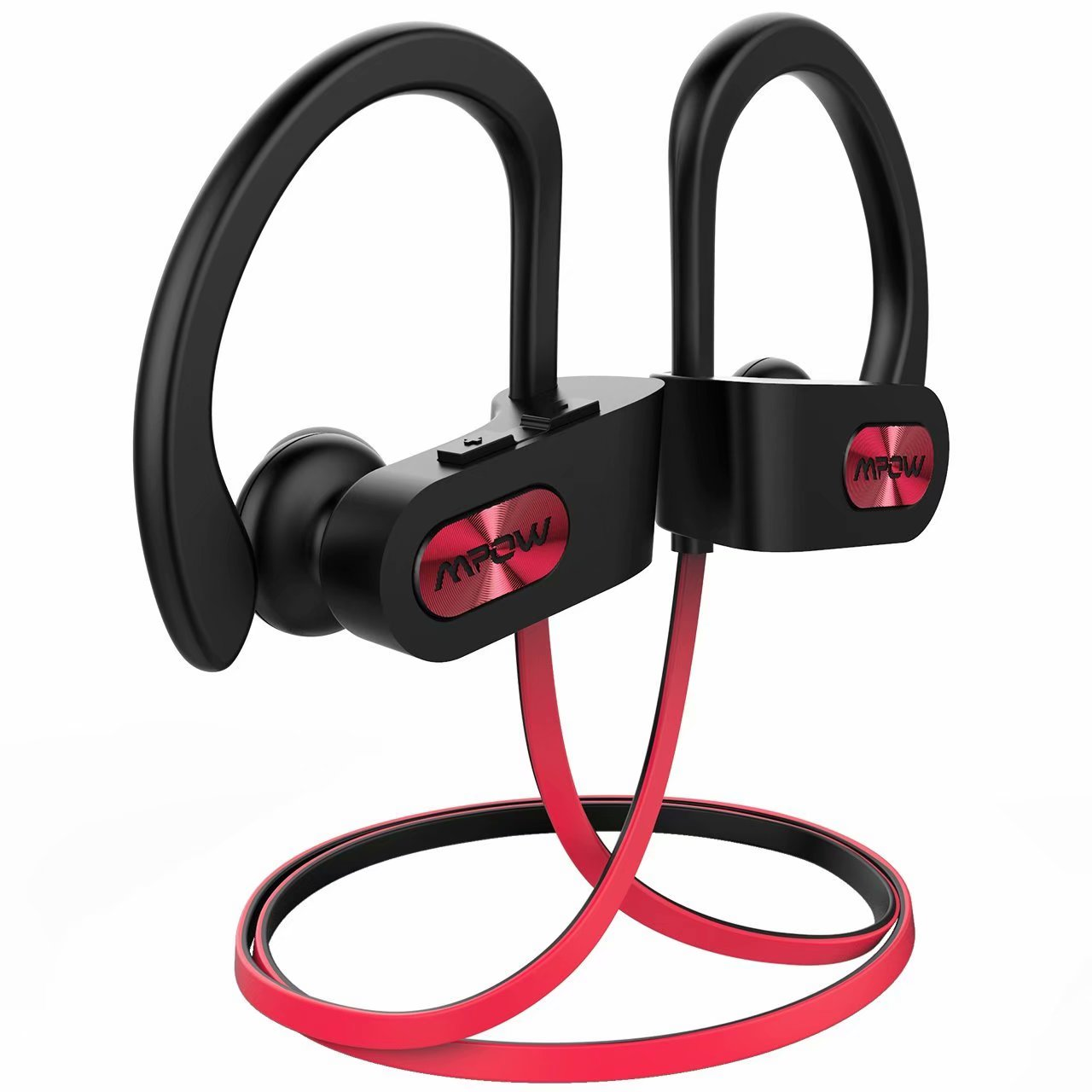 Mpow Bluetooth Headphones, IPX7 Waterproof In-ear Earbuds, Wireless Sports Earphones for Gym Running Cycling Workout (Red Outside & Black Inside)