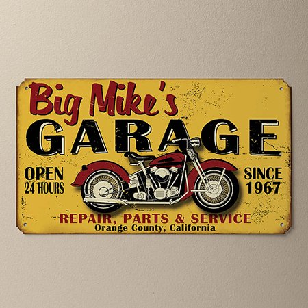 Personalized My Garage Tin Sign  Yellow