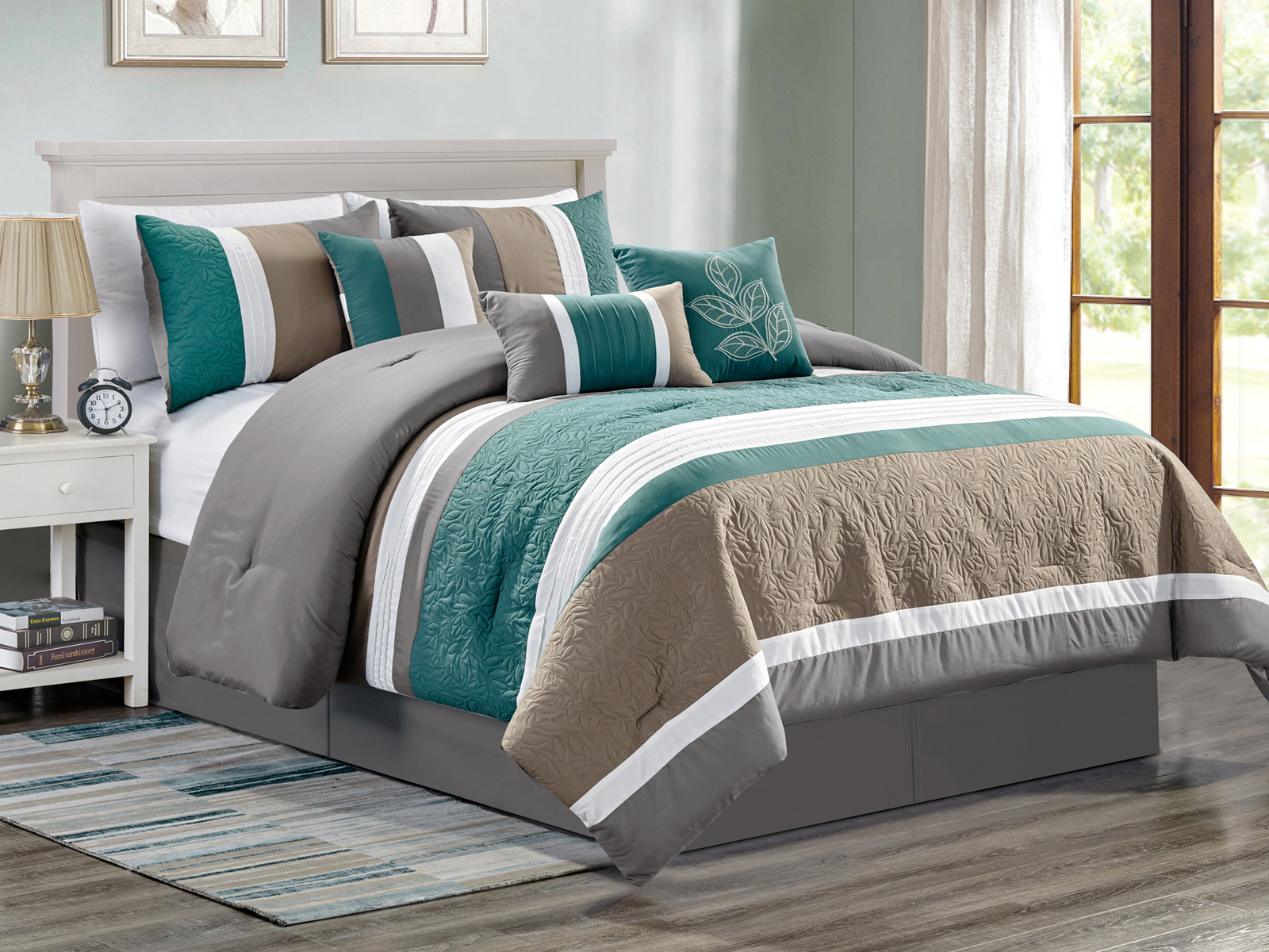 7 Pc Penny Floral Leaves Embossed Pleated Stripe Comforter Set Teal Green Beige Gray White Queen Walmart Com Walmart Com