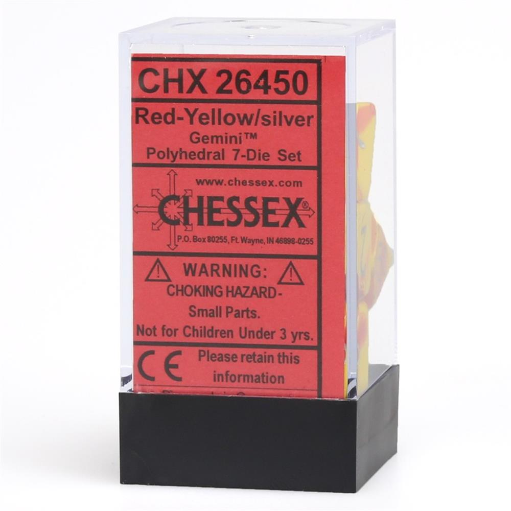 7-setCubeGemini#5 RDYEsv Poly Set Red & Yellow w/Silver (7) Chessex Manufacturing CHX26450