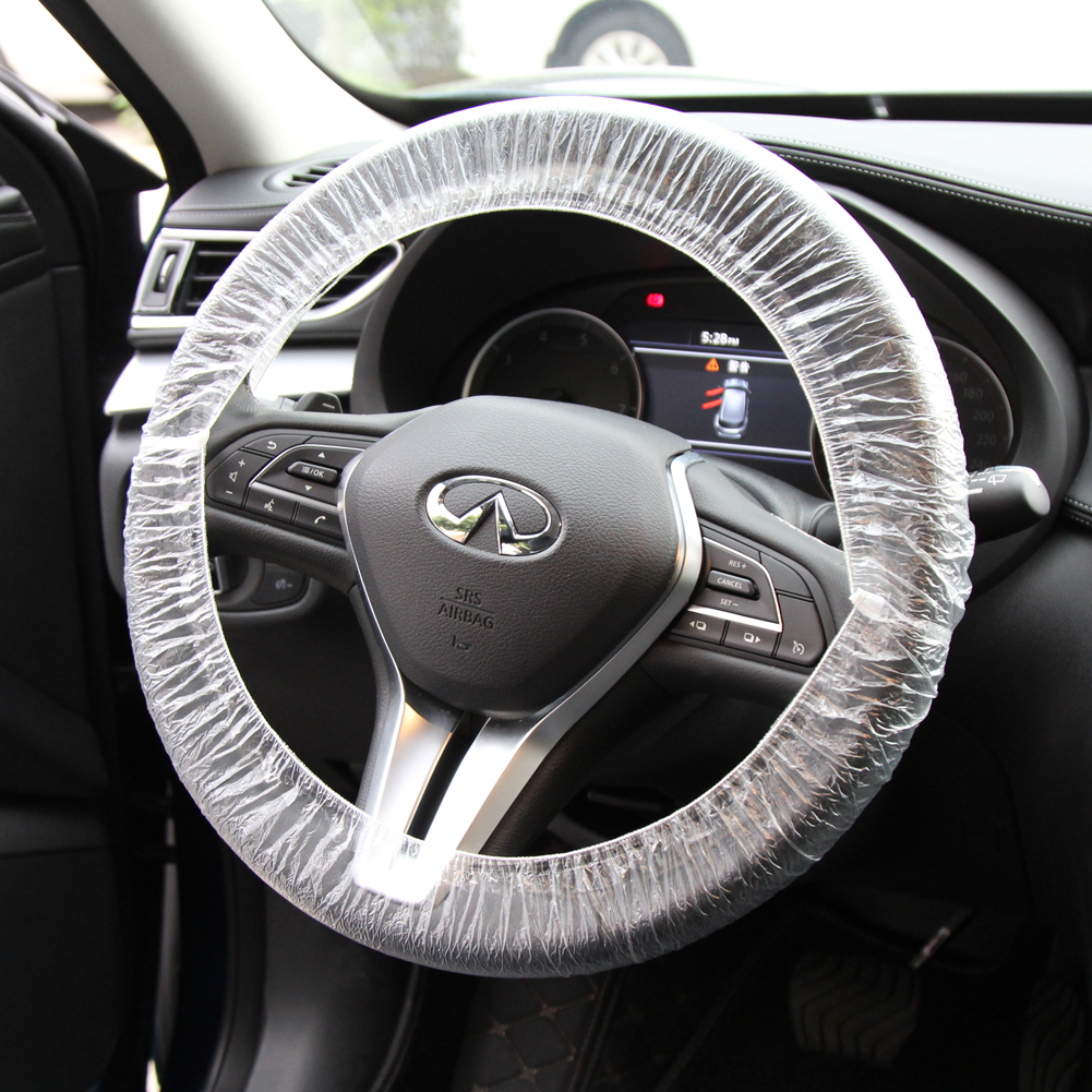 100 PCS//Set Universal Disposable Plastic Steering Wheel Cover//Shift Gear Cover//Car Seat Cover White Plastic Steering-Wheel Cover 4S Shop Dedicated Show