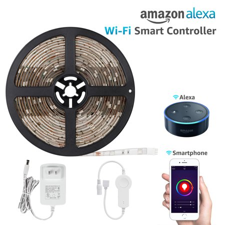 16.4ft Led Strip Light Work with Alexa, Wifi Wireless Smart Phone App, Flexible Color Changable RGB 36W Lighting Kit, IP65 Waterproof, UL Listed 12V Power Supply in Party & Home Decoration