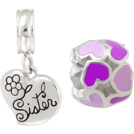 Connections From Hallmark Stainless Steel Enamel Heart Charm And   Sister   Dangle Charm Set