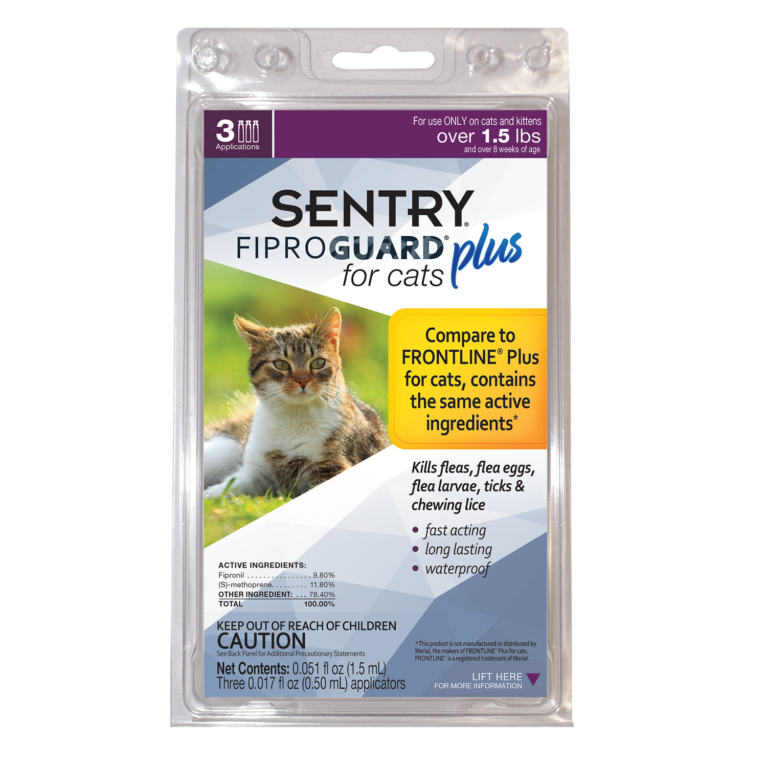 Sentry Fiprogaurd for Cats, 3 Monthly Doses