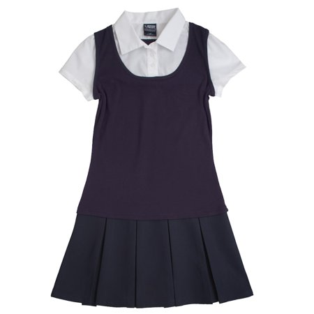 5d8743fea07d6 Toddler Girl French Toast School Uniform Mock-Layer Pleated Dress -  Walmart.com