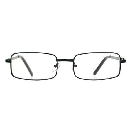 Classic Mens 90s Rectangular Clear Lens Metal Rim Eyeglasses