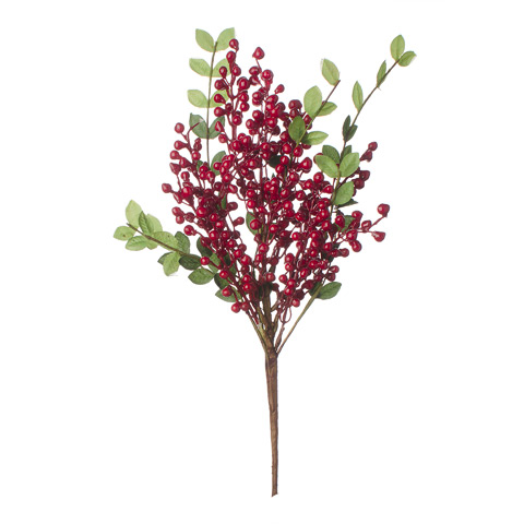 Darice Christmas Leaf and Berries Pick Red 13 Inches