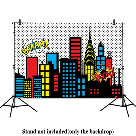 MOHome Polyster 7x5ft photography backdrops superhero super city skyline buildings children birthday party event banner photo studio booth background baby shower photocall - Superhero Photo Effects