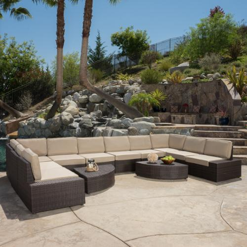 Santa Ramone Outdoor Wicker 12 Piece Conversation Sectional Set, Brown and Beige