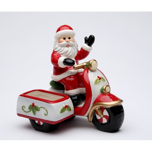 Cosmos Gifts Santa Riding a Scooter Salt and Pepper Set with Sugar Pack Holder