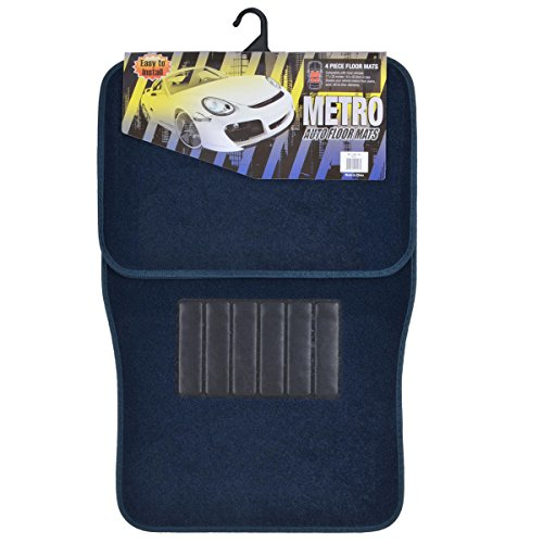 BDK Carpeted 4 Piece Mat With Vinyl Heel Pad Car Vehicle Universal Fit (Blue)