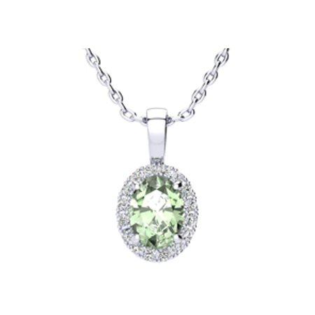 Parker 1 Light Pendant (1 1/4 Carat Oval Shape Green Amethyst and Halo Diamond Necklace In 10 Karat White Gold With 18 Inch Chain)