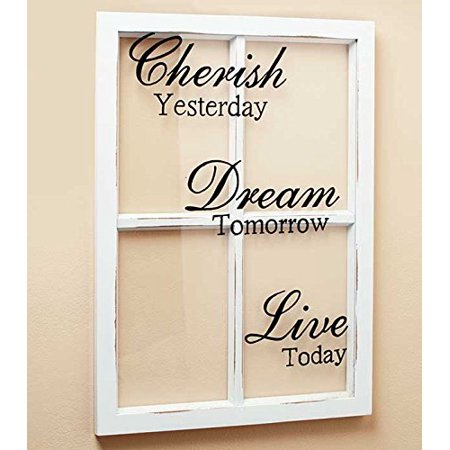 CHERISH DREAM LIVE White Wooden Window Pane Frame Sentiment Decor ...