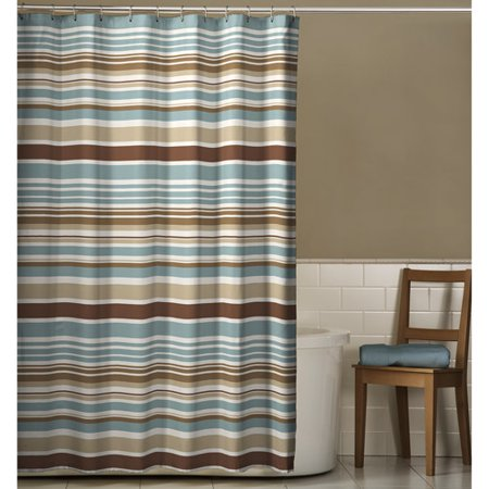 meridian shower curtain mocha and blue. Black Bedroom Furniture Sets. Home Design Ideas