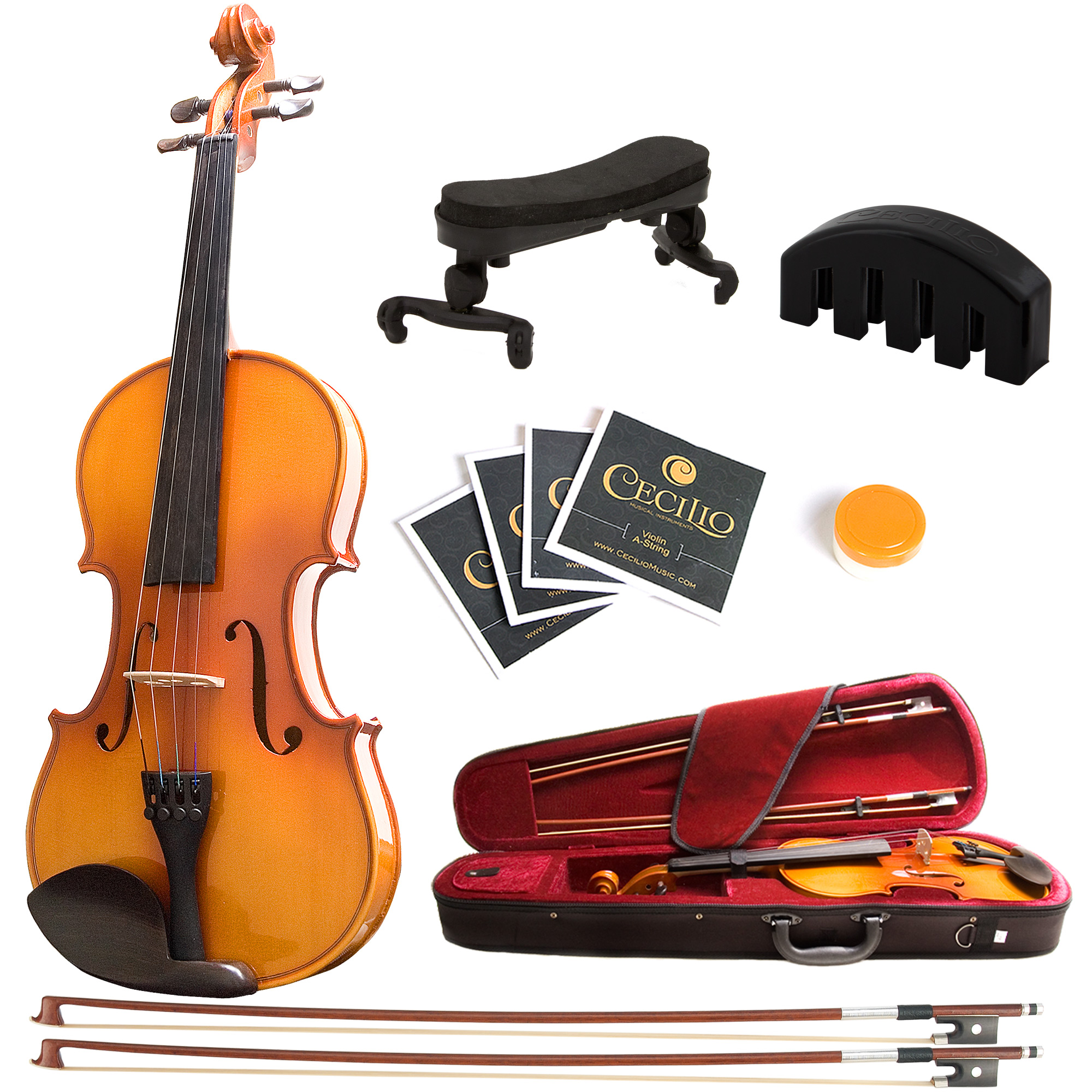 Mendini by Cecilio Size 3 4 MV400 Ebony Fitted Solid Wood Violin with 2 Bows, Shoulder... by Cecilio Musical Instruments