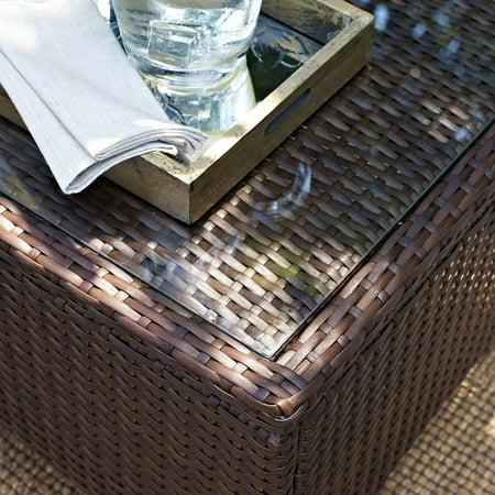 Crosley Furniture Kiawah Outdoor Wicker Glass-Top Table