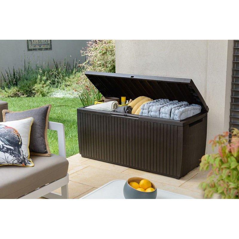 Keter Springwood 80 Gallon All-Weather Outdoor Garden Storage Deck Box by