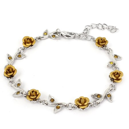 Unique Bargains Lady Lobster Hook Rose Shape Decor Adjustable Chain Wrist Bracelet Gold Tone](Wrist Chain)