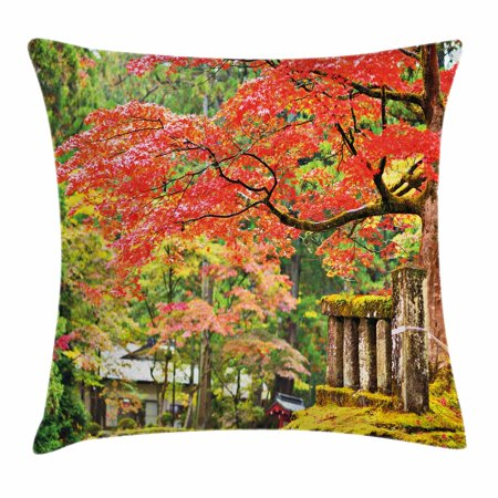Japanese Throw Pillow Cushion Cover  Autumn Scenery With Sakura Tree Cherry Blooms In Nikko Provinence Japan  Decorative Square Accent Pillow Case  16 X 16 Inches  Vermilion Green Brown  By Ambesonne