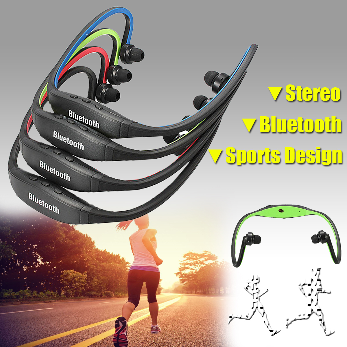 Sports Universal Bluetooth Wireless Stereo Headset Sport Earphone Earbuds Handfree Headphone Mini Portable (with USB Charger Cable) 5 Colors