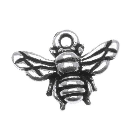 Fine Silver Plated Pewter Honey Bee Charm 11.7mm (1) - Bee Charms