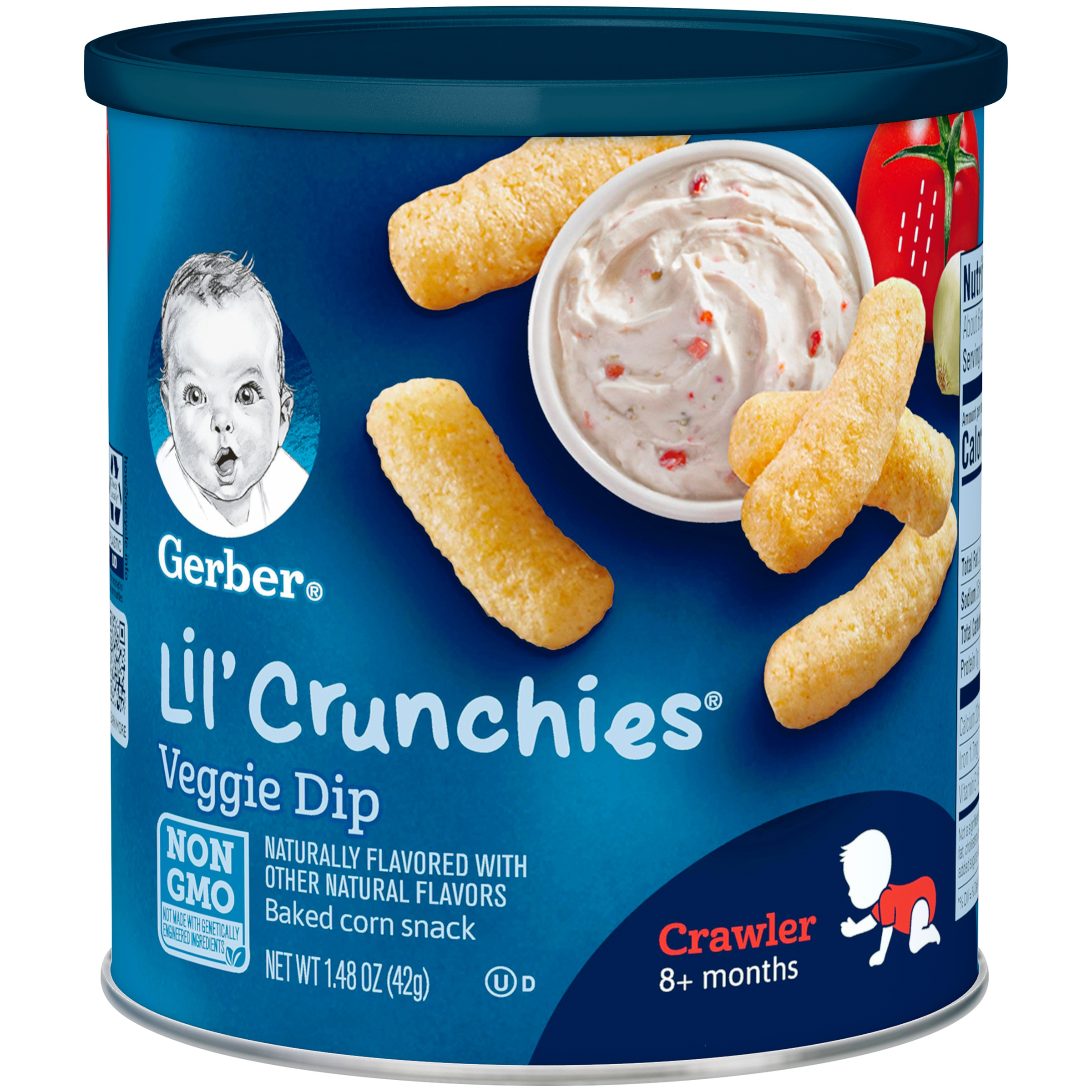 Gerber Lil' Crunchies Baked Whole Grain Corn Snack, Veggie Dip, 1.48 oz. Canister