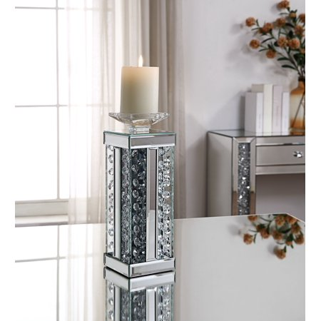 Acme Nysa Accent Candleholder in Mirrored and Faux Crystals